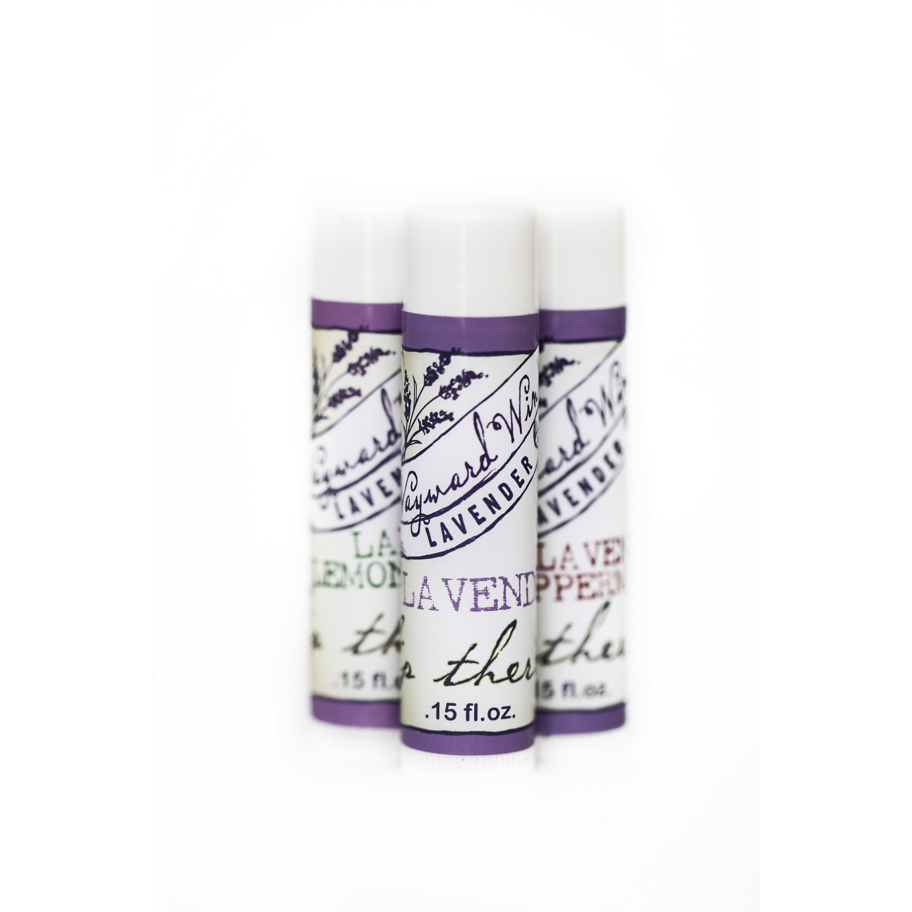 three small tubes-purple-white-lip balm-therapy-lavender